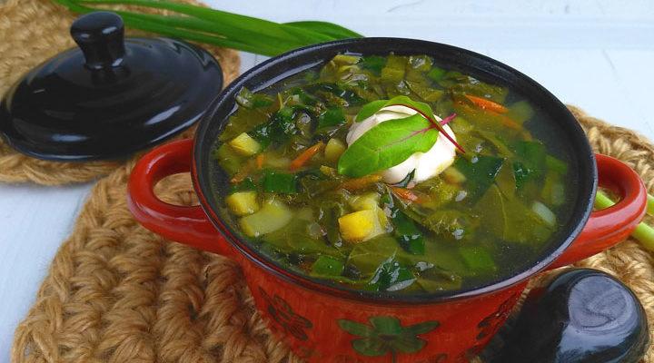 Постный борщ «Зеленый» без мяса - рецепт с фото