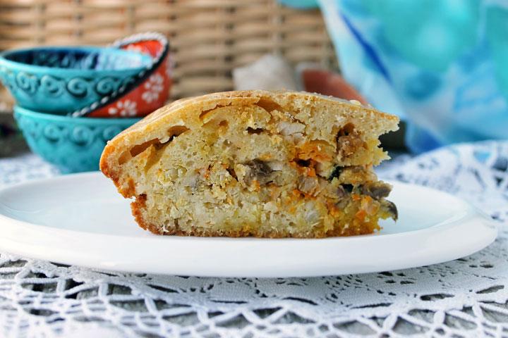 Пирог с рыбой и грибами в духовке - рецепт