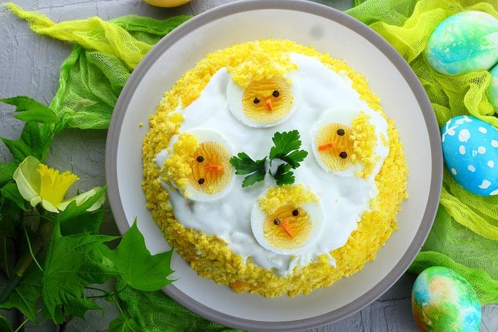 Пасхальный салат Цыплята - рецепт с фото