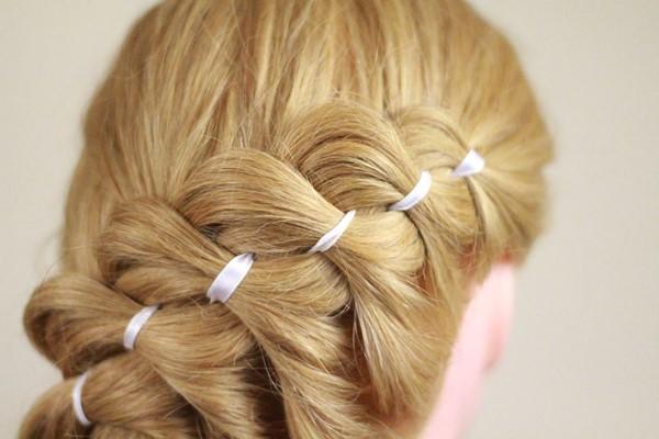 коса 5 прядей набок