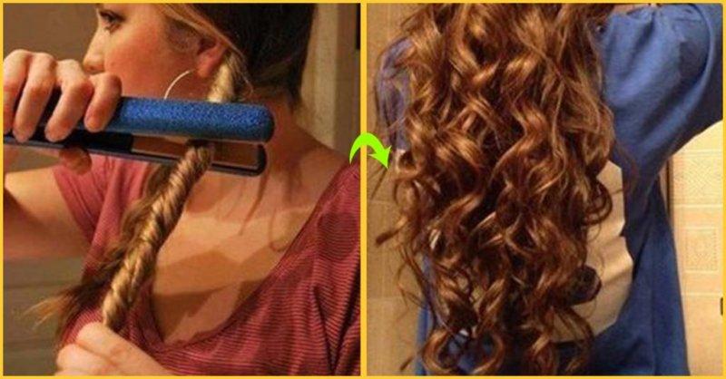 Сделать небрежные локоны на длинные волосы
