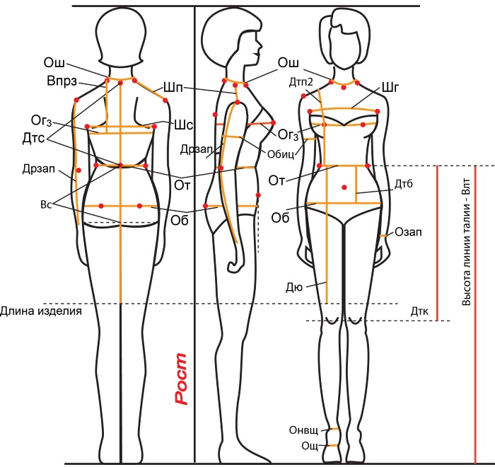 Мерки для шитья. Таблица размеров женщин, мужчин, детская. Обозначения по Госту