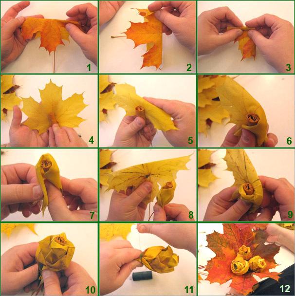 rozy-iz-klenovyh-listev-3 Как сделать цветы из листьев руками. Розы из кленовых листьев своими руками пошагово