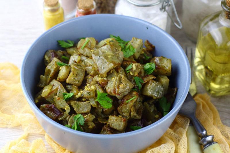 Баклажаны жареные как грибы с луком рецепт