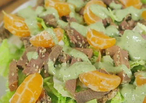 Праздничный салат с языком и мандаринами