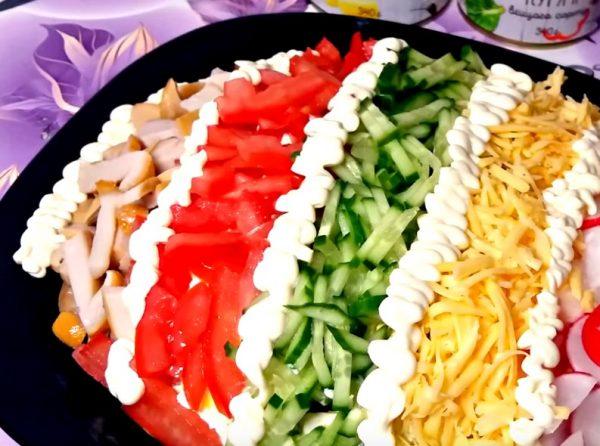 Вкусный салат с языком «Елисейские поля»