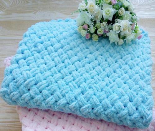 Плед из пряжи Ализе Софти (Alize Baby Softy) спицами. Пошаговая инструкция, схемы, узоры