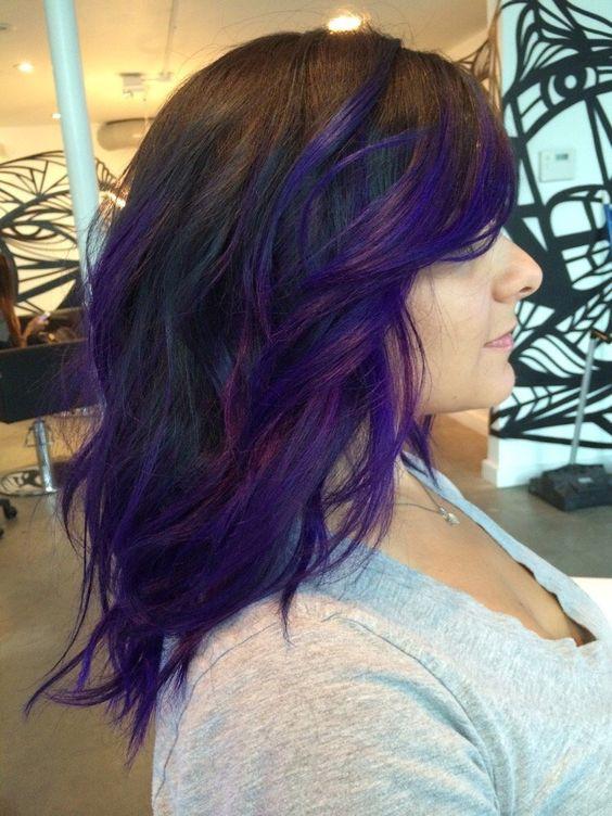 фиолетовый балаяж на темные волосы