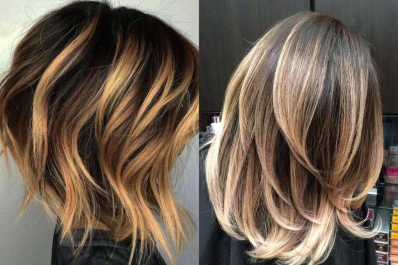 Растяжка цвета на темных волосах